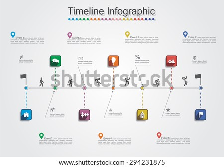Infographic report template with lines and icons. Vector illustration - stock vector