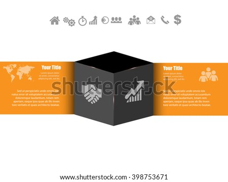 Infographic shiny vector banner with icons cube and place for text eps10 - stock vector