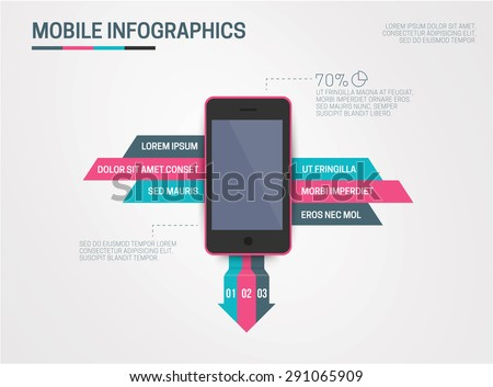 Infographic smart phone design icons text and values concept background illustration - stock vector