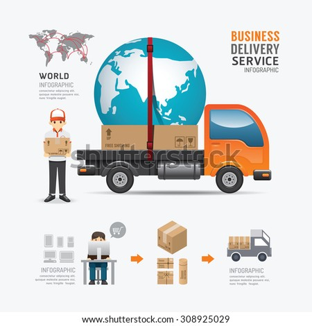 Infographic Social Business delivery service template design . concept vector illustration - stock vector