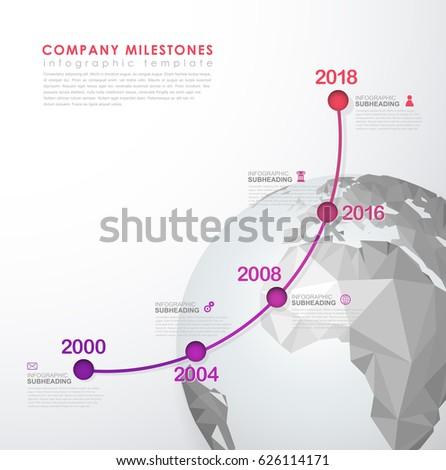 Infographic startup milestones timeline vector template stock vector infographic startup milestones timeline vector template with polygonal world map maxwellsz