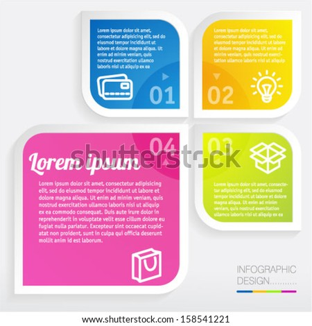 Infographic step by step vector minimal design template. - stock vector