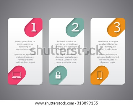 Infographic tags design with cool icons and numbers - stock vector