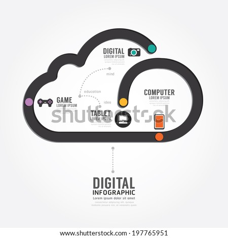 Infographic Technology digital line concept template design . concept vector illustration - stock vector