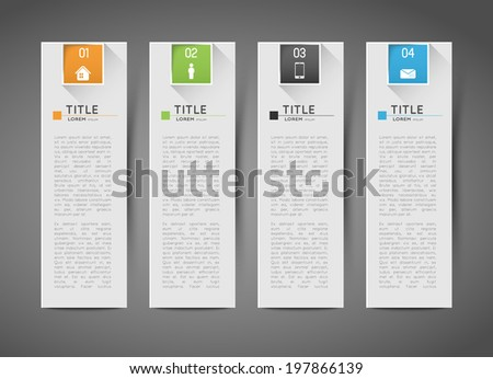 infographic template banners with option steps and shadows - stock vector