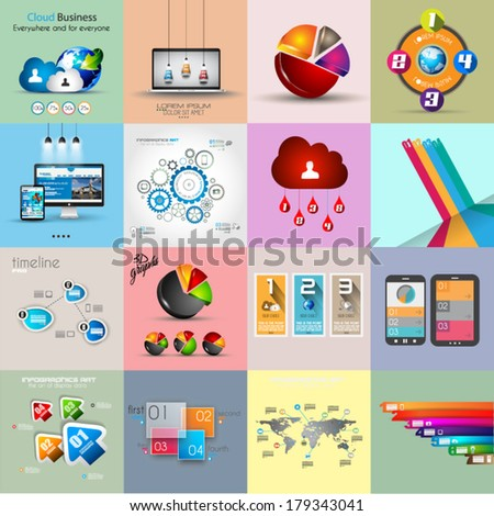 Infographic template collections with a lot of different design elements to use to display your statistic data and so on. - stock vector