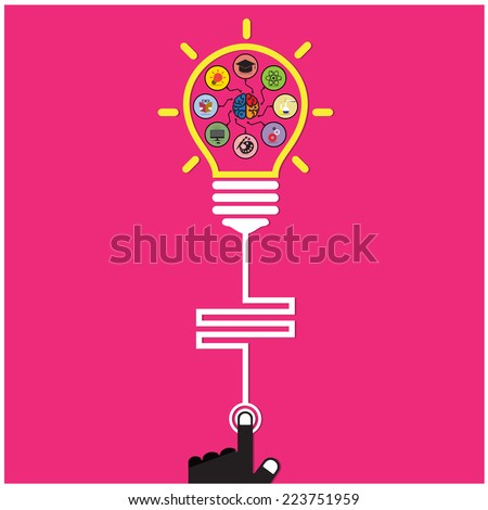 Infographic template creative light bulb and brain education and science concept,Flat design for poster flyer cover brochure,Business idea. Vector illustration - stock vector