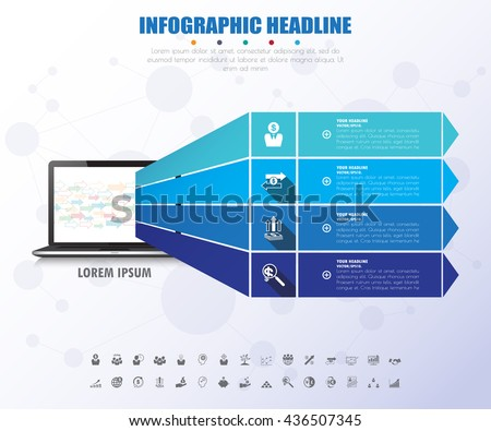 Infographic Template. Data Visualization. Can be used for workflow layout, number of options, steps, diagram, graph, presentation, timeline chart and web design. Vector illustration. - stock vector