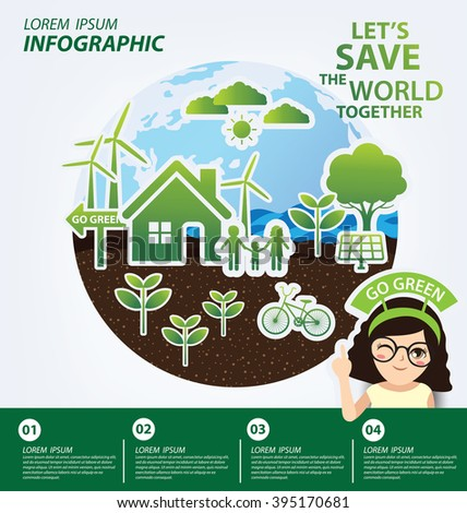 Infographic template. Ecology concept. save world vector illustration. - stock vector