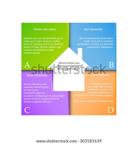 Infographic template for business project or presentation with four segments.