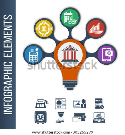 Infographic template for different bank & financial services. Infographic background with integrated icons for currency exchange, incomings, mobile banking, regular payments, loan calculator.  - stock vector