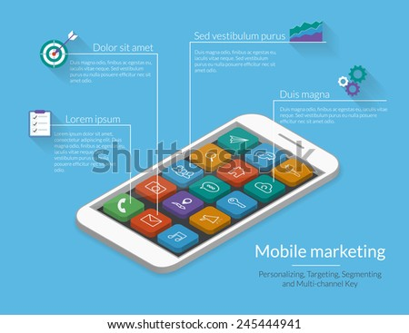 Infographic template for mobile marketing. Smartphone with apps icons. Text outlined, free font Lato - stock vector