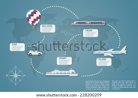 infographic template on traveling theme with world map on background ans icons of car, train, plain, ferry boat and hot air balloon - stock vector