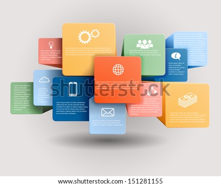 Infographic template, vector cubes and squares, EPS 10. - stock vector