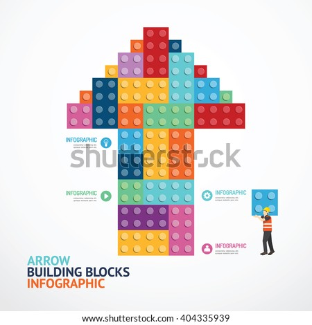 Infographic Template with arrow shape building blocks banner . concept vector illustration - stock vector