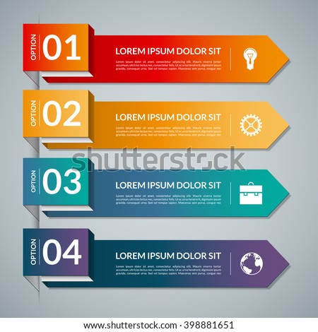 Infographic template with 4 arrows, steps, parts, options. Vector banner with business icons and design elements. Can be used for web, chart, graph, diagram, report, workflow layout. Origami style - stock vector