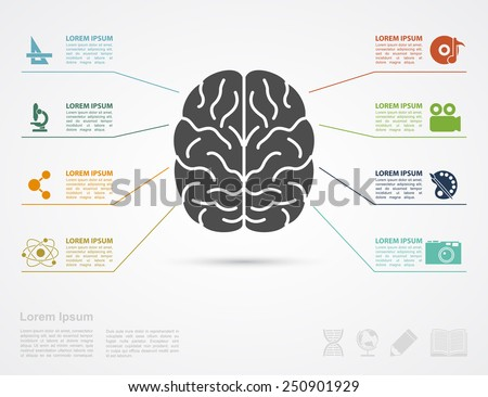 infographic template with brain silhouette and icons af arts and science - stock vector