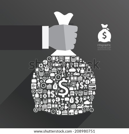 infographic Template with businessman hand hold money bag icons banner . concept vector illustration - stock vector