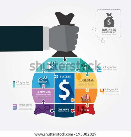 infographic Template with businessman hand hold money bag jigsaw banner . concept vector illustration - stock vector