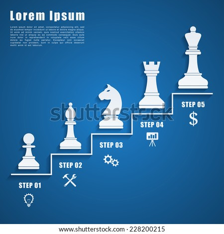 infographic template with chess figures and icons, business strategy, planning concept - stock vector