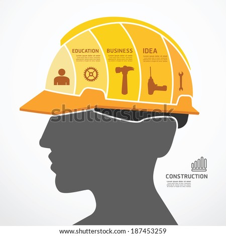 infographic Template with construction concept jigsaw banner . vector illustration - stock vector