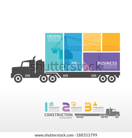 infographic Template with Container truck banner . concept vector illustration - stock vector