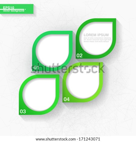 Infographic template with four green leaves labels. Eps10 - stock vector