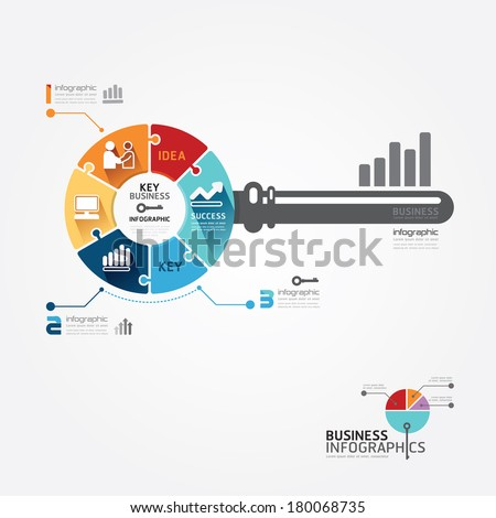 Infographic Template with key business jigsaw banner . concept vector illustration - stock vector