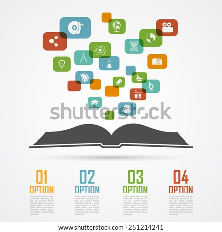 infographic template with opened book silhouette and icons, education, sciences concept - stock vector