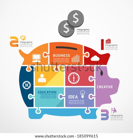 infographic Template with piggy bank jigsaw banner . concept vector illustration - stock vector