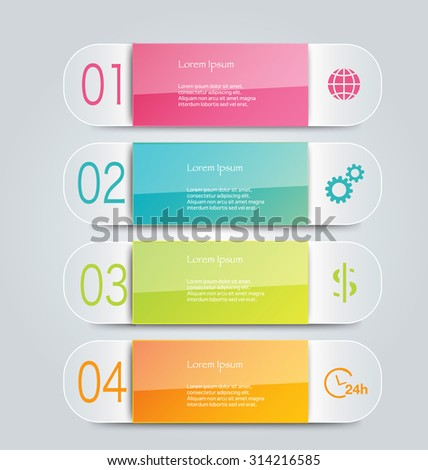 Infographic template with step options for business, startup concept, web design, data visualization, banner, brochure, flyer layouts, presentation, education. Abstract 3d stock vector illustration.