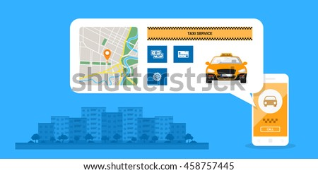 infographic template with taxi car on mobile phone screen, icons and town street on background, taxi service concept, flat style illustration - stock vector