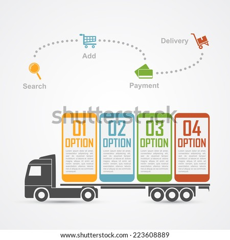 infographic template with truck carrying mobile phones and some icons, e-commerce, online shopping, shipping and delivery concept - stock vector