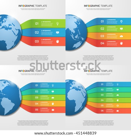 Infographic templates with globe with 3, 4, 5, 6 options, parts, steps, processes for graphs, charts, diagrams. Business, education, travel and transportation concept.