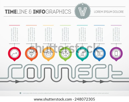 Infographic timeline about connect with seven parts. Time line of tendencies and trends. Vector web template with icons and design elements on light background. - stock vector