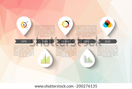 Infographic timeline design, concept - template with points. Idea to display information, ranking and statistics with orginal and modern style. - stock vector