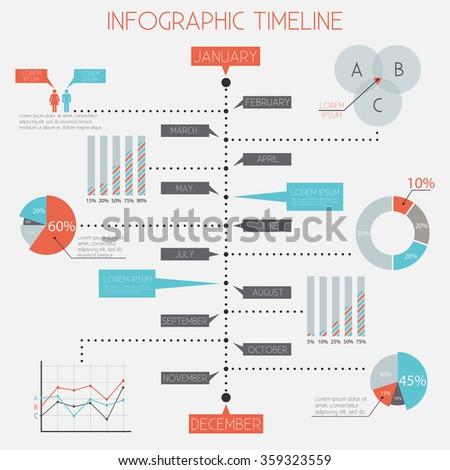 Infographic Timeline - infographic elements set, flat design, vector eps10 - stock vector