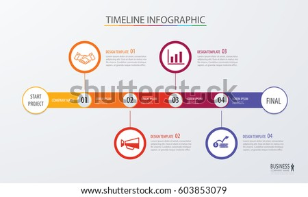 Infographic timeline template business concept with 4 options.Vector can be used for workflow layout, diagram, number step up options, web design ,annual report