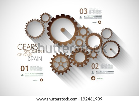 Infographic timeline with Gear mechanic concept for product or generic items classification. - stock vector