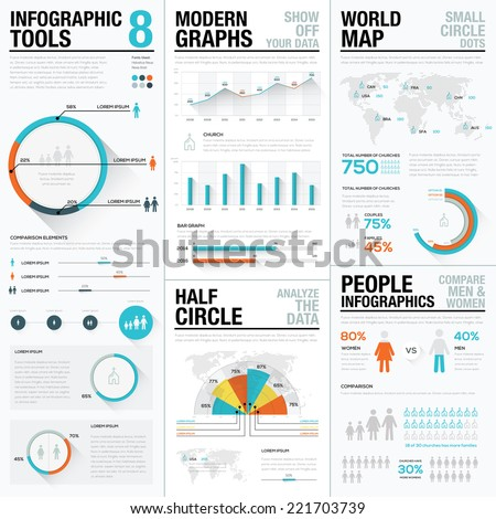 Infographic Tools 8 - human and people infographics with bar and charts. Elements for data visualization in newspapers, brochures, flyers, websites, etc. Flat and long shados design. Blue & red colors - stock vector