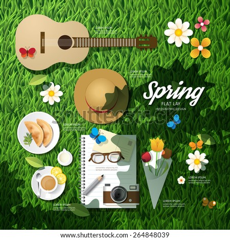 Infographic travel planning a spring vacation business flat lay idea. Vector illustration hipster concept.can be used for layout, advertising and web design. - stock vector