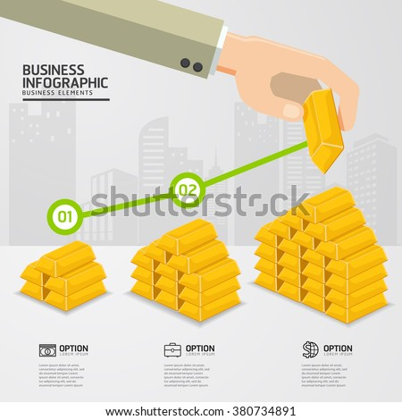 infographic up price for gold concept on white background. price gold up. business concept.