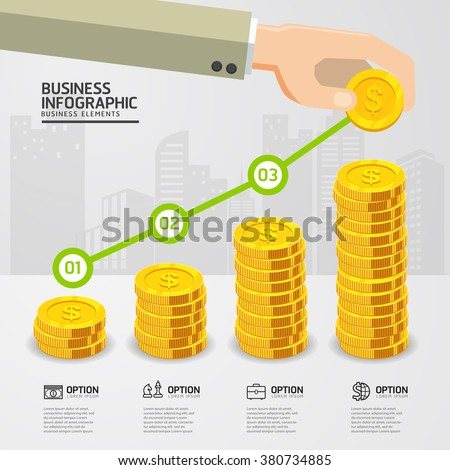 infographic up price for Golden Dollar Coins business growth concept. price dollar up. business concept. gold coins money stack. Can be used for workflow layout, banner, diagram, number options. - stock vector