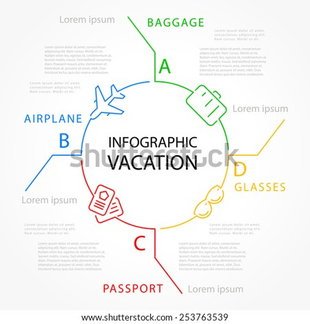 infographic vacation template design vector lines and icons transportation - stock vector
