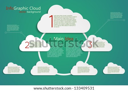 infographic vector background, main idea cloud concept, center stage - stock vector