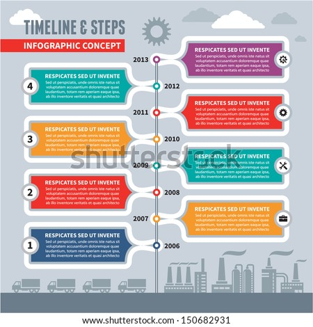 Infographic vector concept - time line & steps for industrial factory & business illustration - banner template. Time line infographic in flat design style.  Infographic and design elements.  - stock vector
