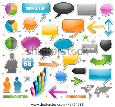 Infographic vector graphs and speech bubbles - stock vector
