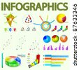 infographic vector graphs charts bars and design elements. vector illustration - stock vector