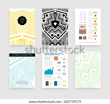 Infographic Vector Illustration with Abstract Geometric Pattern Background. Business Template for Flyer, Banner, Placard, Poster, Brochure Design. Graphic Black Ornament and Elements. Technology Art - stock vector