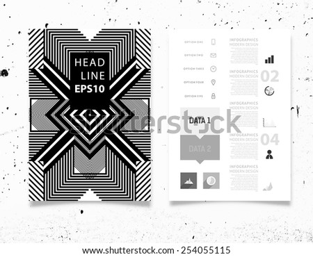 Infographic Vector Illustration with Abstract Geometric Pattern Background. Concrete Texture. Business Template for Flyer, Banner, Placard, Poster, Brochure Design. Graphic Black Ornament and Elements - stock vector